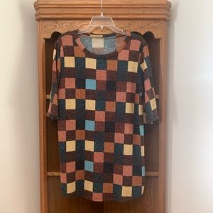 BomBom checkered sweater top short sleeves(no size